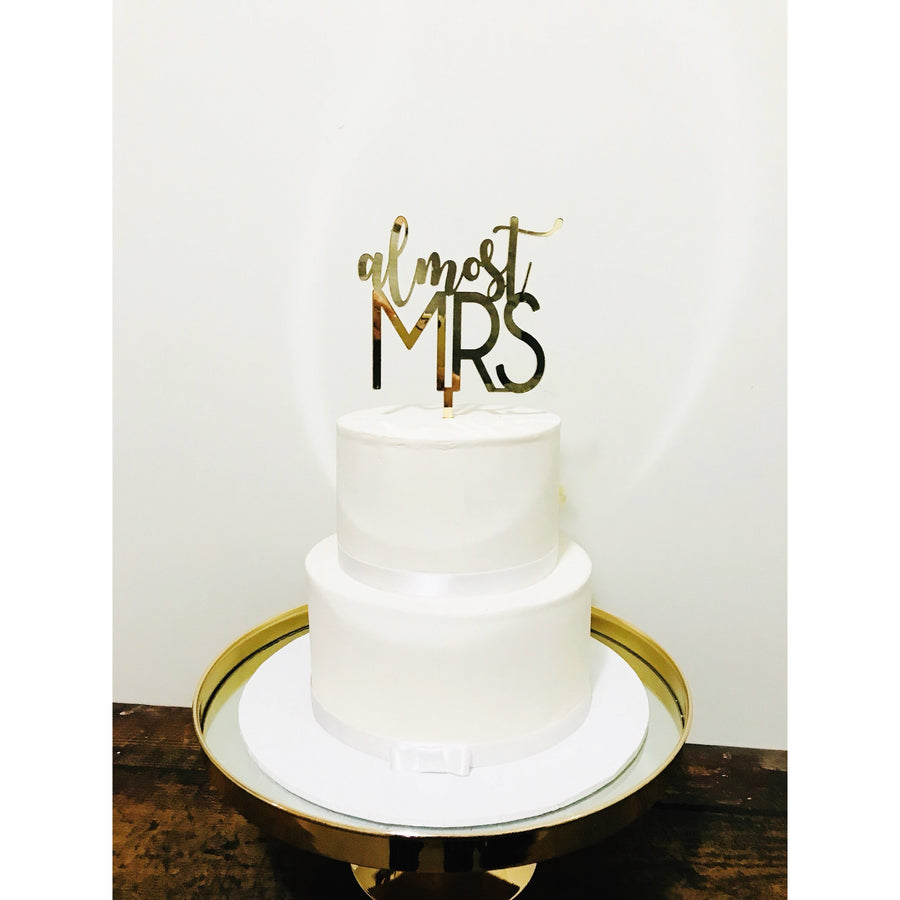 Almost Mrs Acrylic Cake Topper - Aston Blue