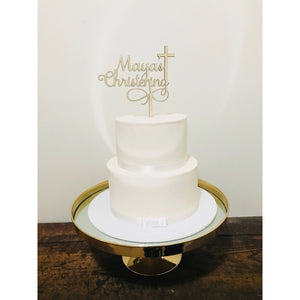 Christening Acrylic Cake Topper - Aston Blue