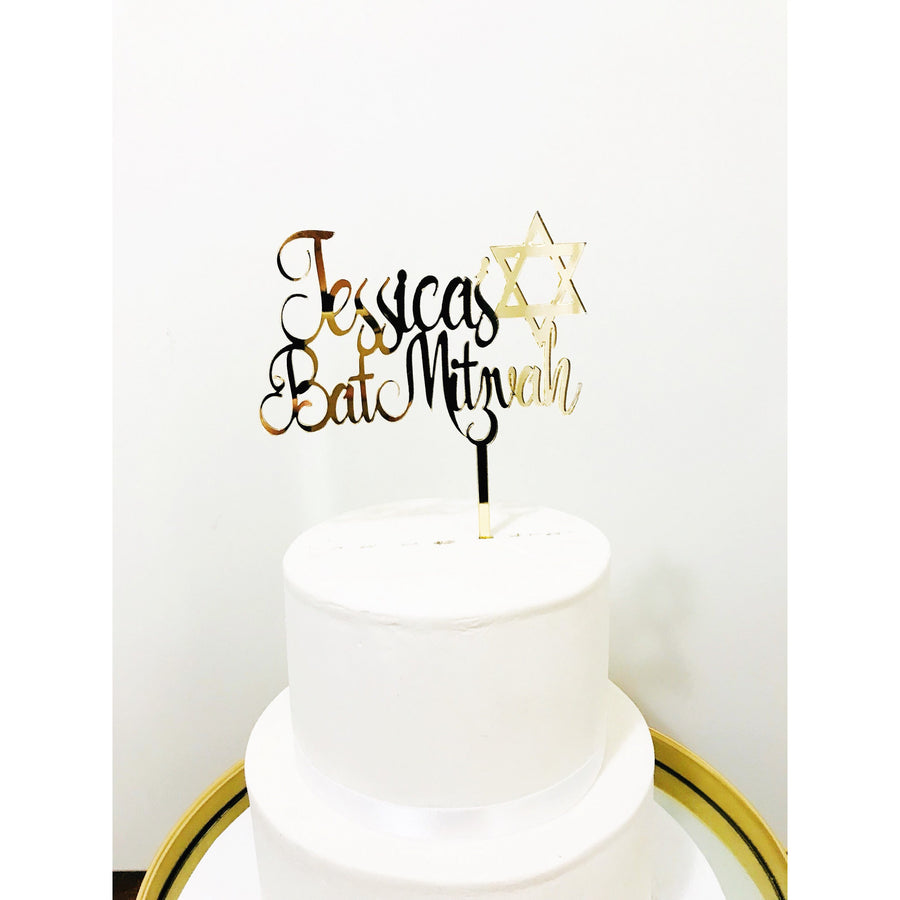 Personalised Bat Mitzvah Cake Topper - Aston Blue