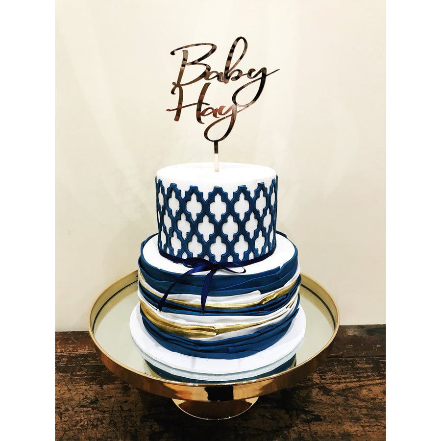 Baby Name Cake Topper - Aston Blue