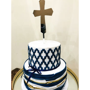 Cross Acrylic Cake Topper - Aston Blue