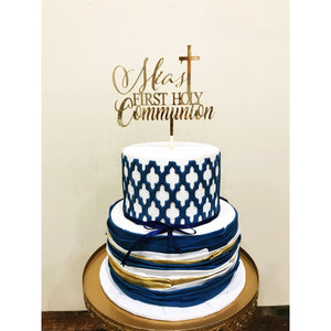 First Holy Communion Acrylic Cake Topper - Aston Blue