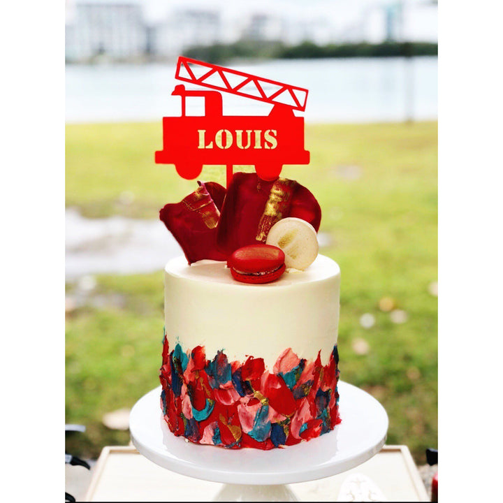 Fire Truck Acrylic  Cake Topper - Aston Blue
