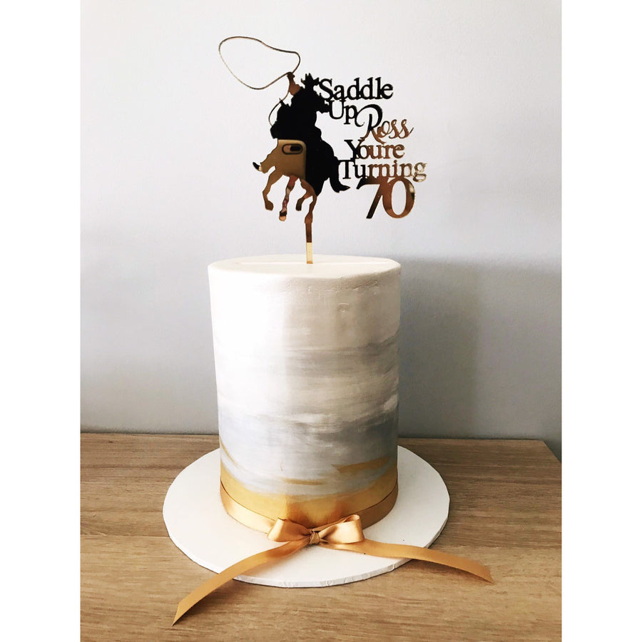 Personalised Cowboy Acrylic Cake Topper - Aston Blue