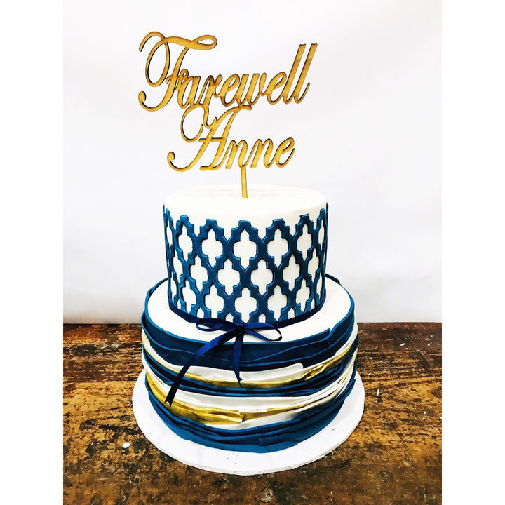 Personalised Farewell Acrylic Cake Topper - Aston Blue