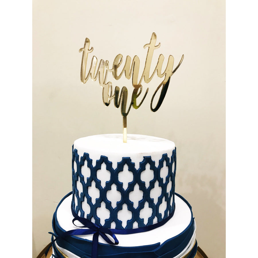 Twenty First Acrylic Cake Topper - Aston Blue
