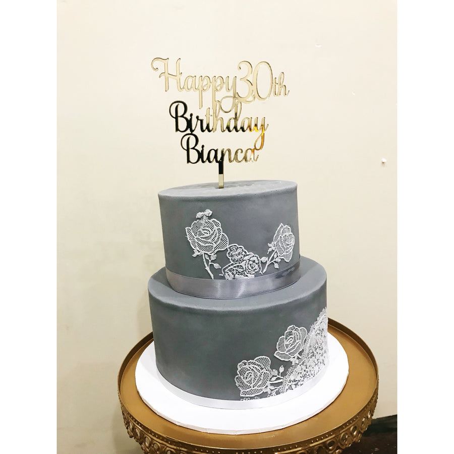 Personalised Thirty Acrylic Cake Topper - Aston Blue