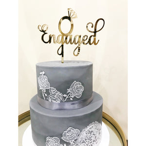 Engaged Acrylic Cake Topper - Aston Blue