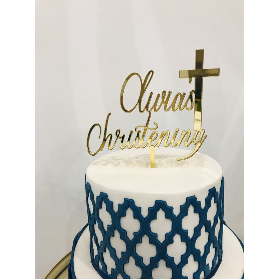 Christening Cake Topper - Aston Blue