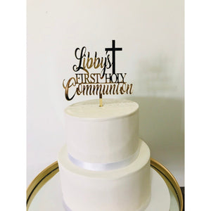 Personalised First Holy Communion Acrylic Cake Topper - Aston Blue