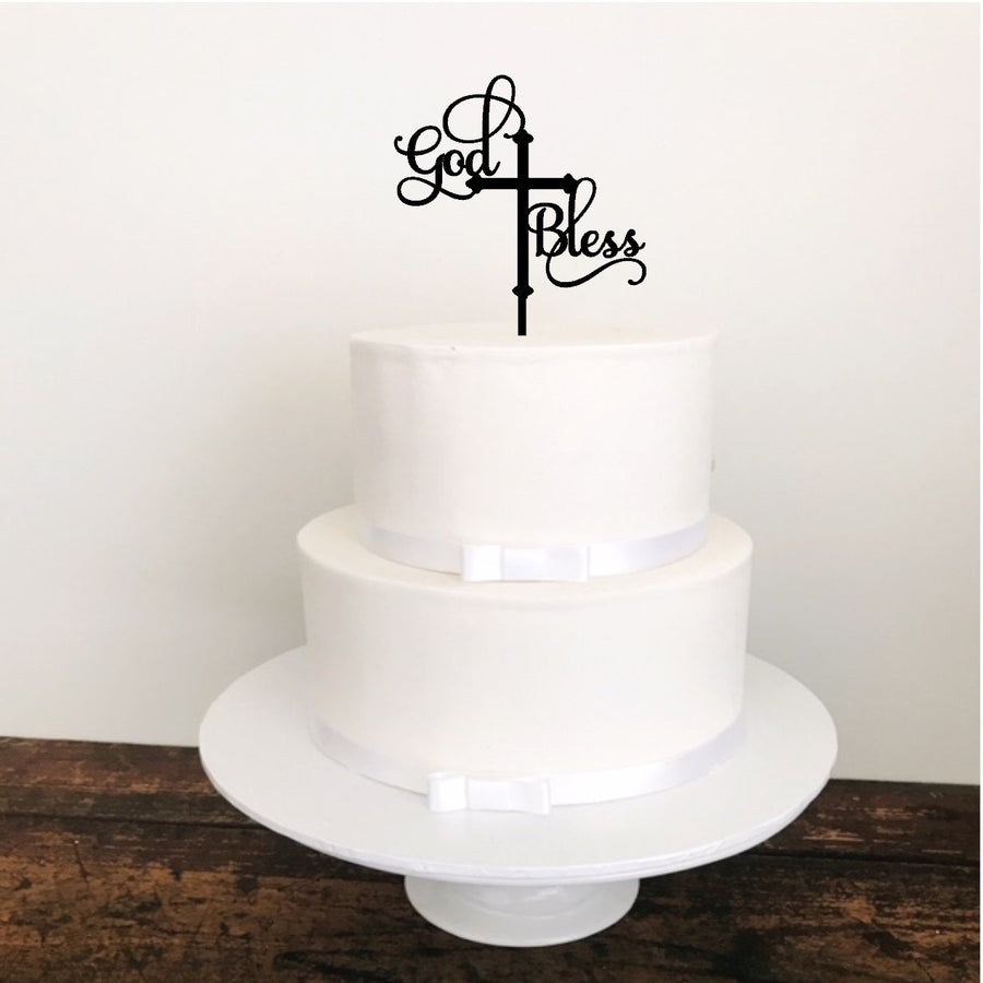 God Bless Cake Topper - Aston Blue