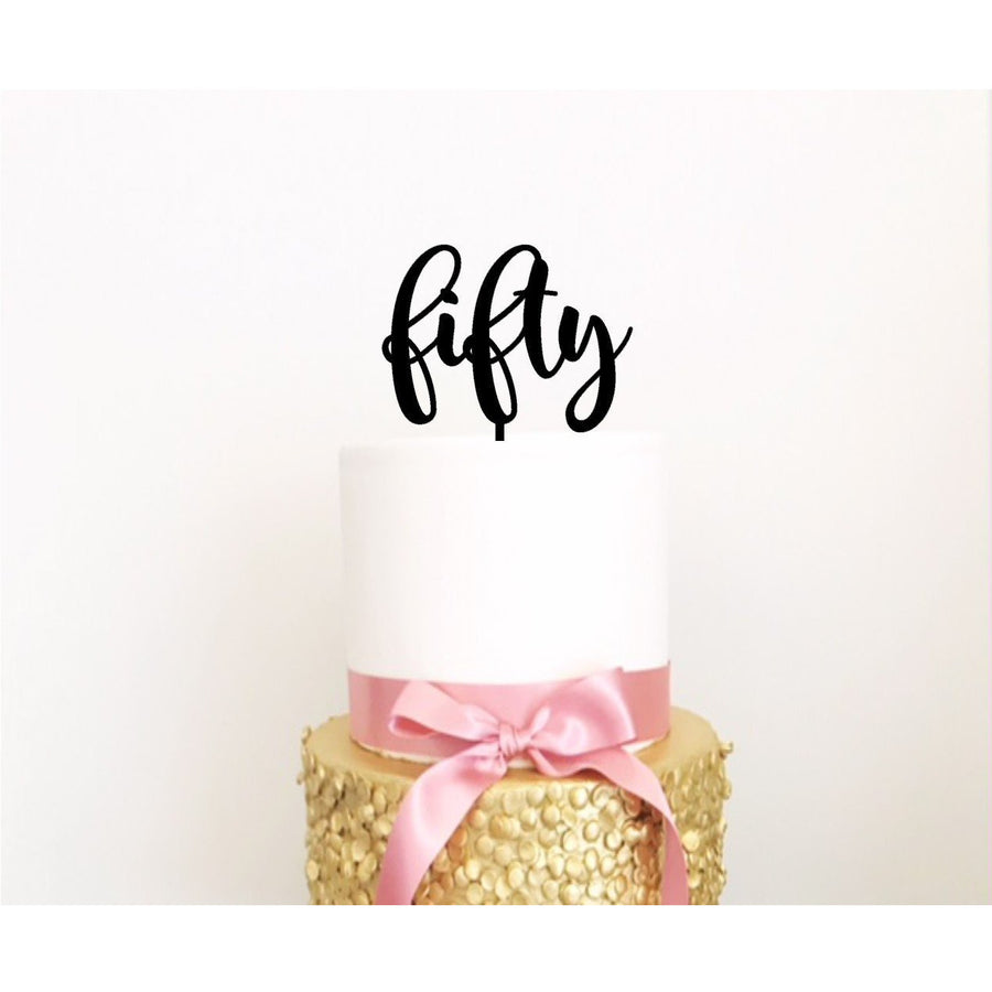 Fifty Cake Topper - Aston Blue