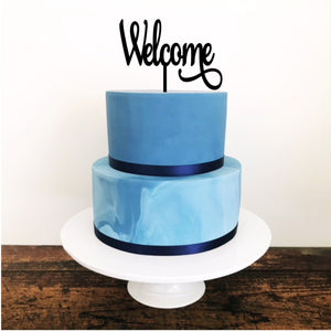 Welcome Acrylic Cake Topper - Aston Blue