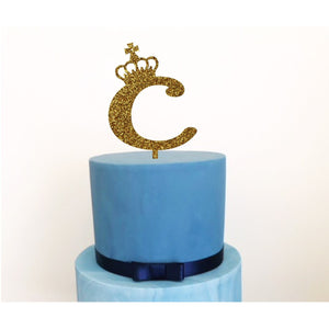 Personalised Crown Acrylic Cake Topper - Aston Blue