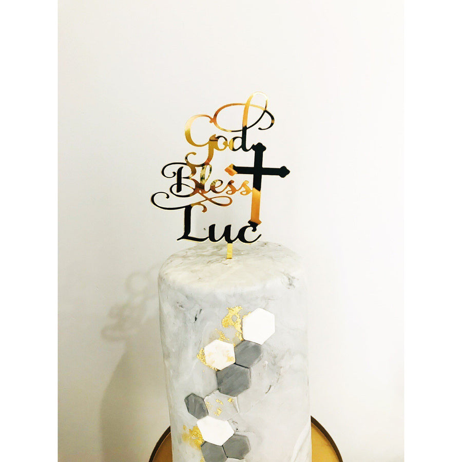 Personalised God Bless Acrylic Cake Topper - Aston Blue