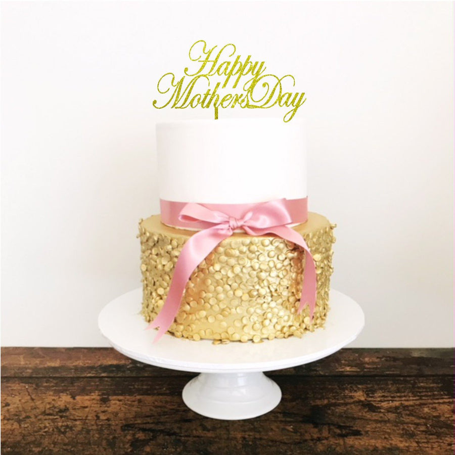 Happy Mothers Day Acrylic Cake Topper - Aston Blue