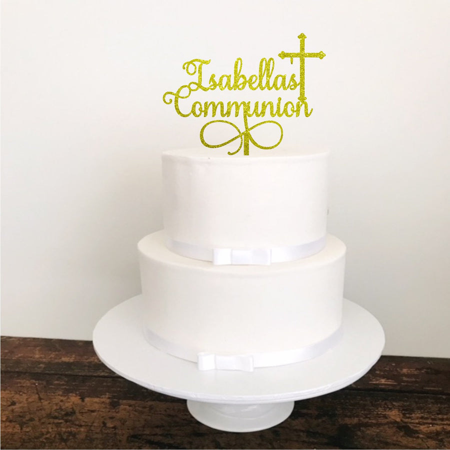 Personalised Communion Acrylic Cake Topper - Aston Blue