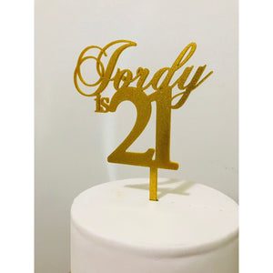 Personalised Twenty One Acrylic Cake Topper - Aston Blue