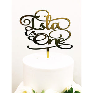Personalised One Cake topper - Aston Blue
