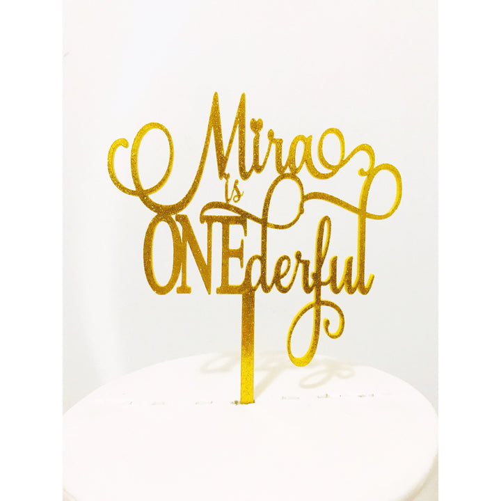 Onederful Acrylic Cake Topper - Aston Blue