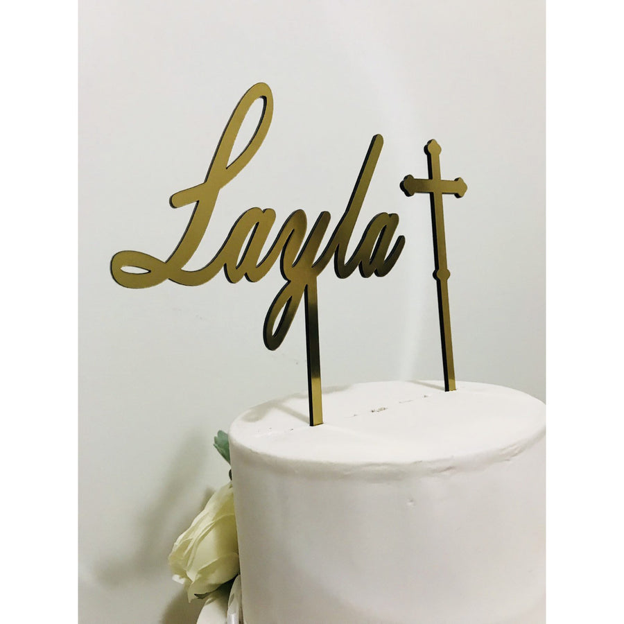 Custom Christening Acrylic Cake Topper - Aston Blue