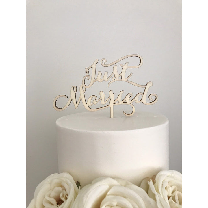 Just Married Cake Topper - Aston Blue