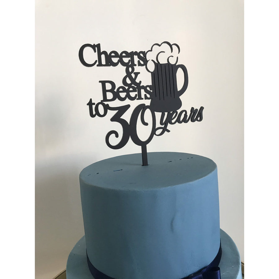 Cheers and Beers to 30 years Cake Topper - Aston Blue