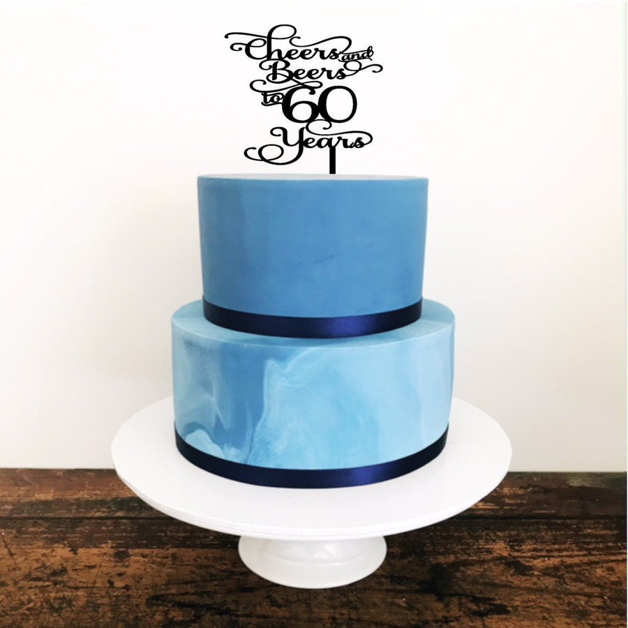 Cheers and Beers to 50 years Cake Topper - Aston Blue