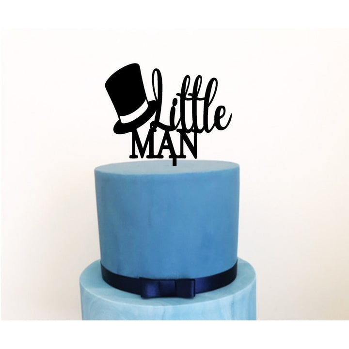 Little Man Acrylic Cake Topper - Aston Blue