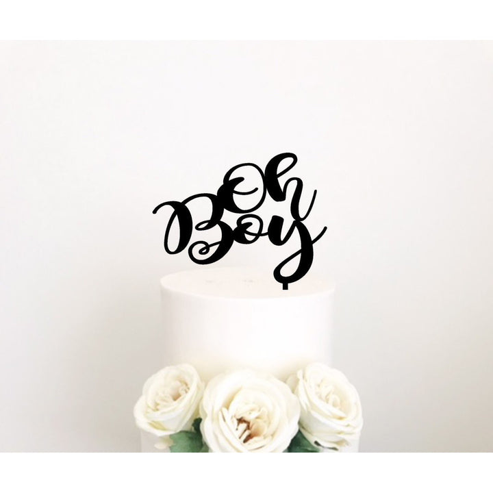 Oh Boy Acrylic Cake Topper - Aston Blue