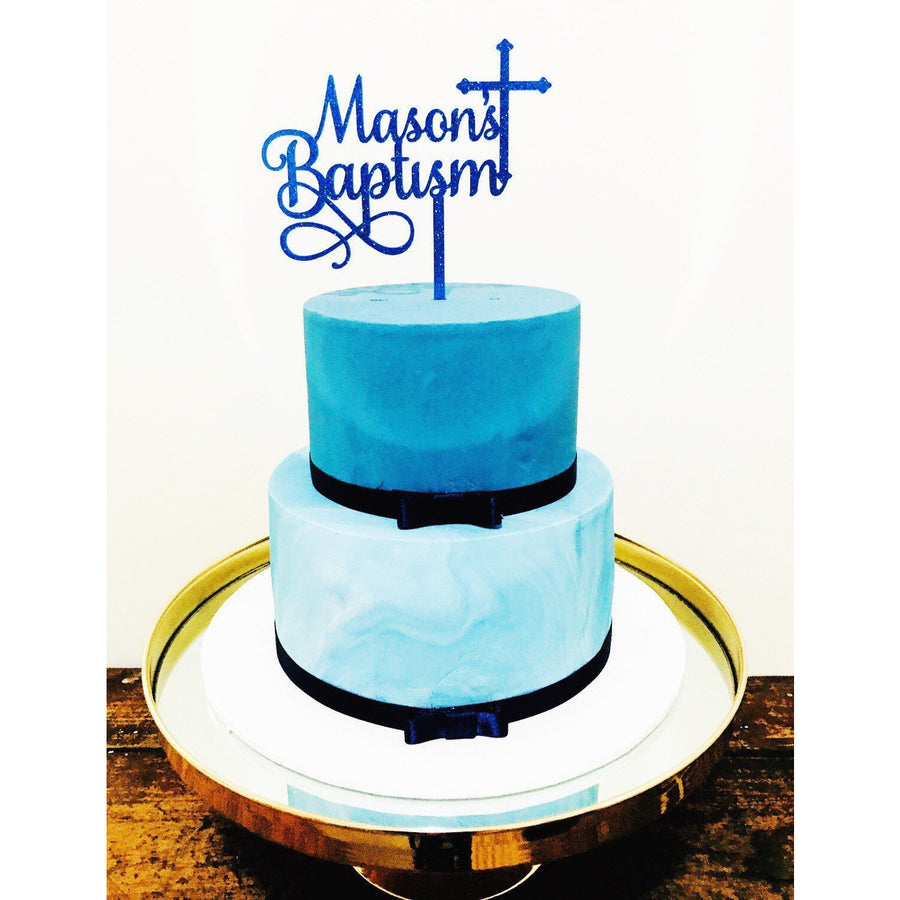 Custom Baptism Cake Topper - Aston Blue