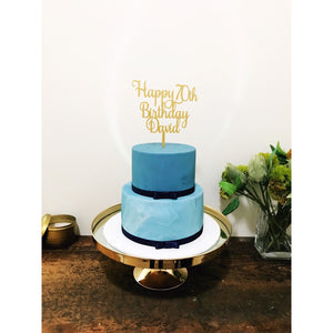 Custom Seventy Cake Topper - Aston Blue