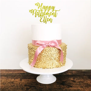 Happy Retirement Acrylic Cake Topper - Aston Blue