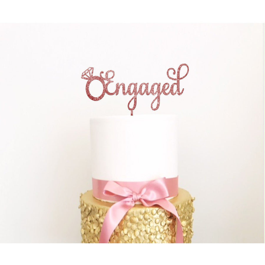 Engagement Ring Acrylic Cake Topper - Aston Blue