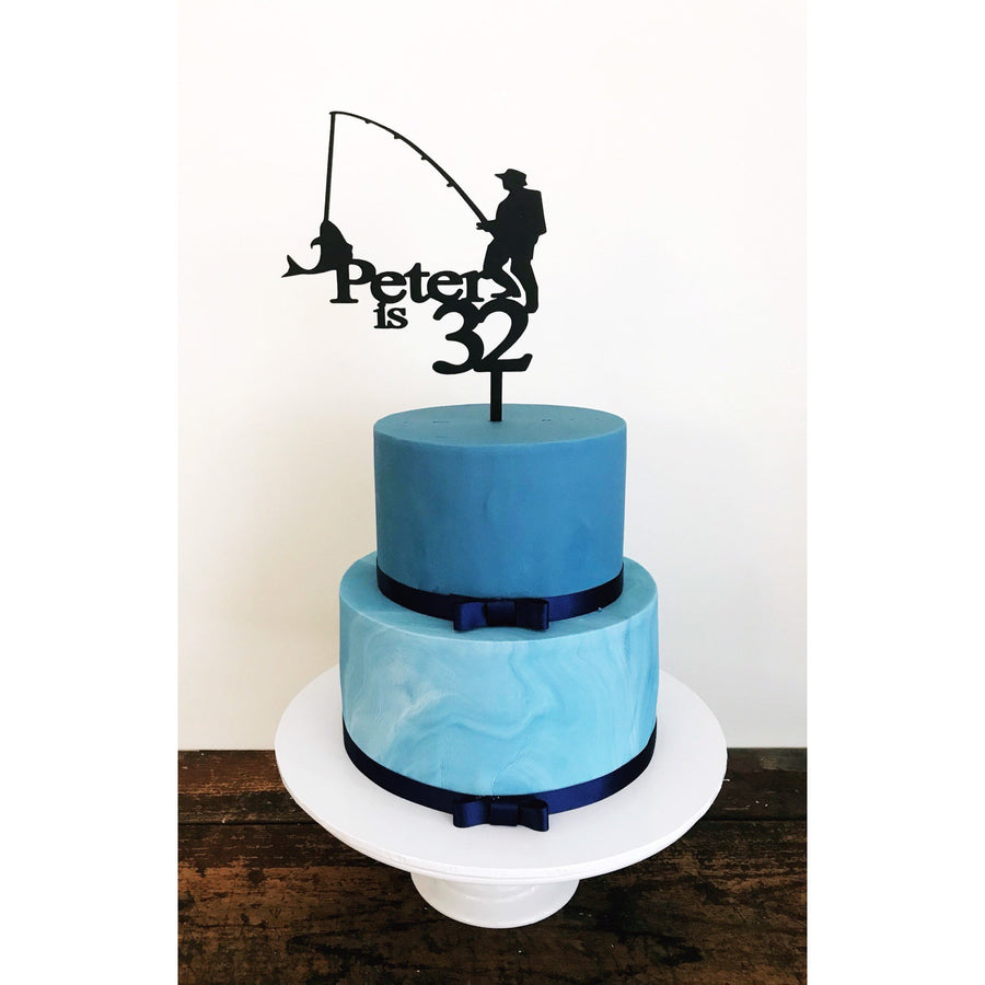 Fishing Cake Topper - Aston Blue