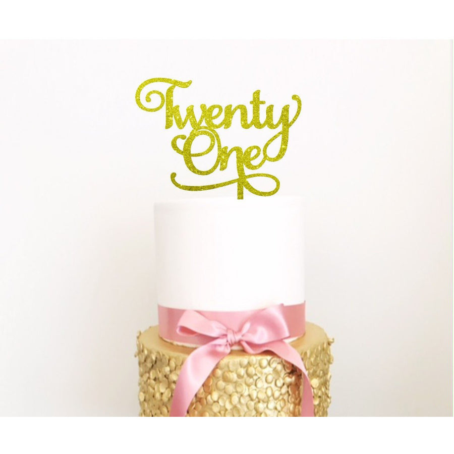 Twenty One Acrylic Cake Topper - Aston Blue
