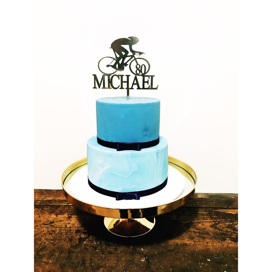 Cyclist Acrylic Cake Topper - Aston Blue