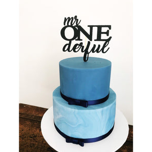 Mr One derful  Cake Topper - Aston Blue