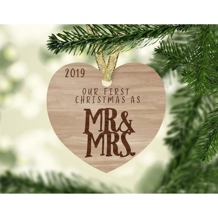 Our First Christmas as Mr and Mrs Ornament - Aston Blue