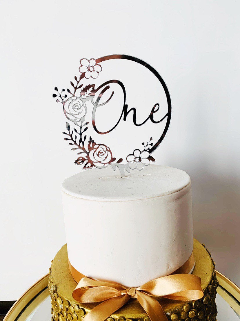 Personalised Floral Cake topper - Aston Blue