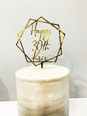 Thirty Acrylic Cake Topper- 30th Birthday - Aston Blue