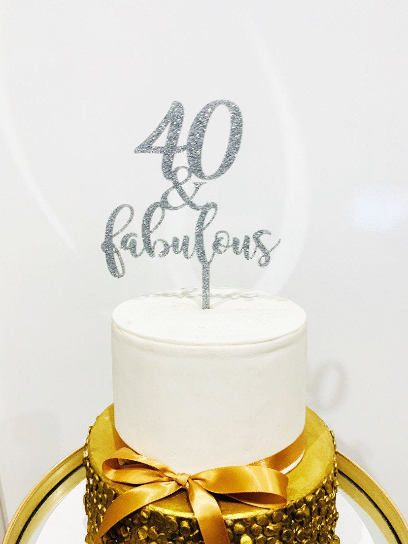 Forty and Fabulous Cake Topper - Aston Blue