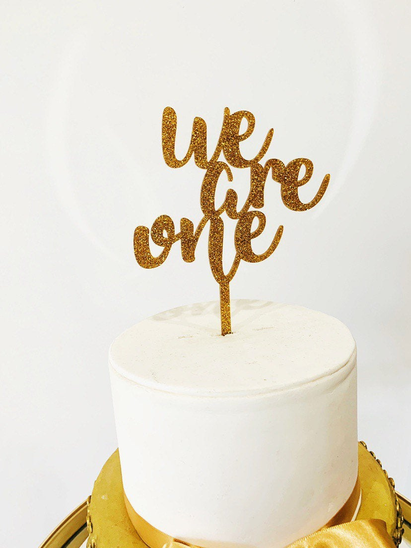 We Are One Cake Topper Aston Blue
