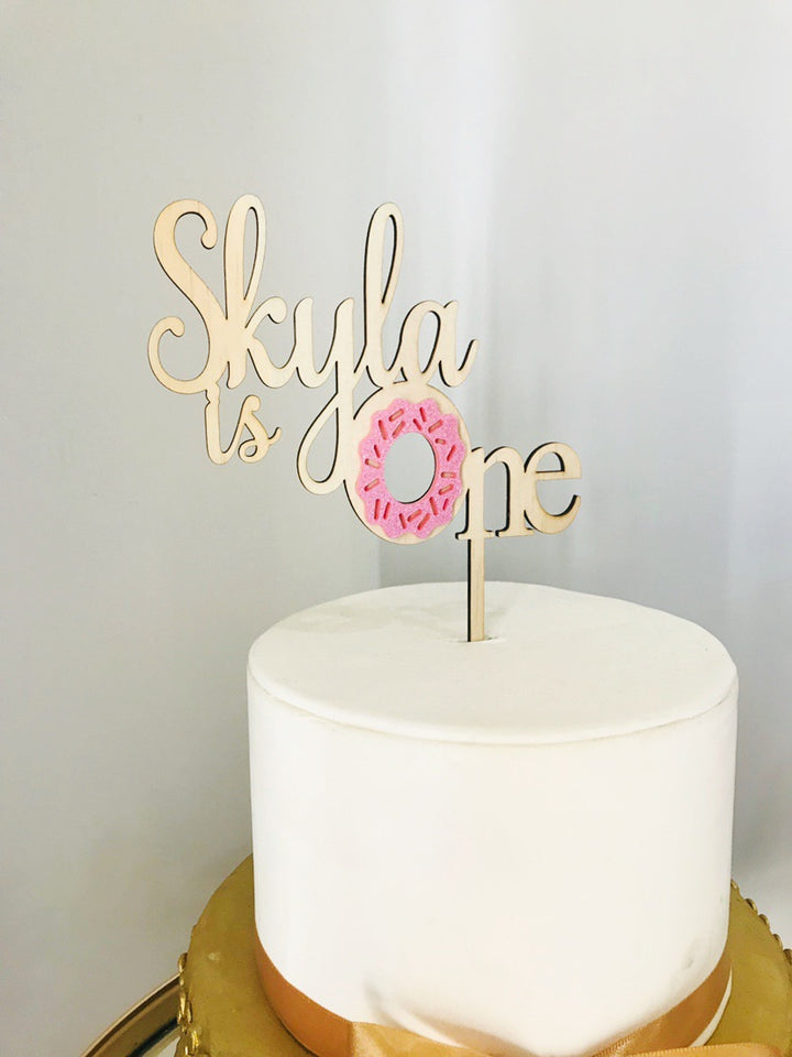 Donut Acrylic Cake Topper - Aston Blue