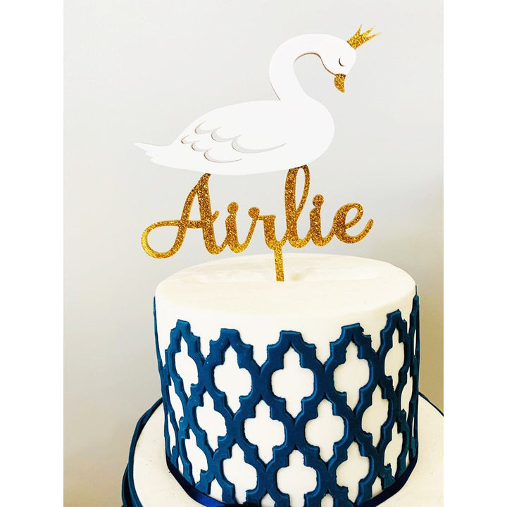 Personalised Swan Acrylic Cake Topper - Aston Blue