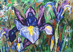Oil painting of Dutch Irises by Garth Bayley