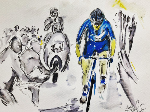 Papped by the crowd on the way to win stage 14 - Cycling Painting