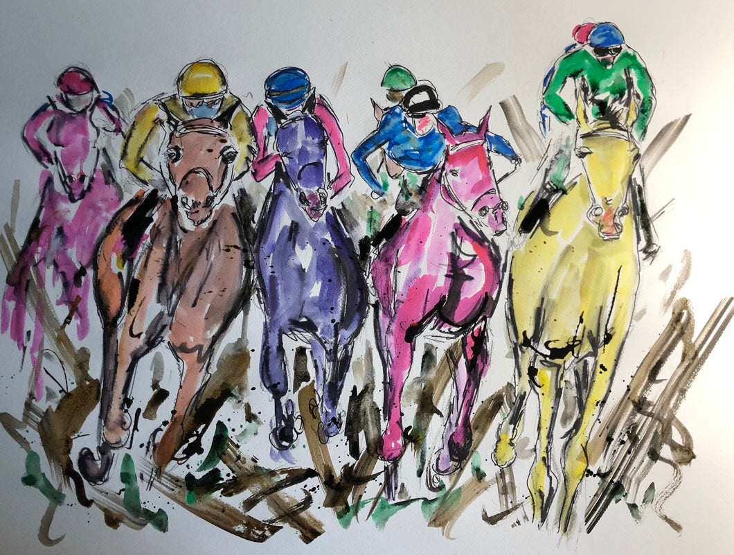 The Gallop through the Mud - Horse Racing Painting