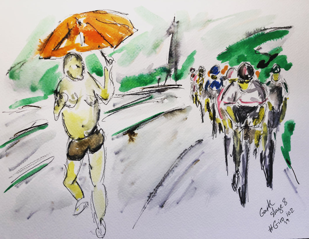 Rain Man gives Encouragement - Cycling Painting