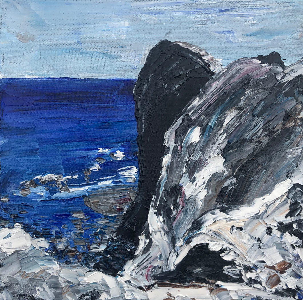 Rock formation at Lythe - Seascape Painting